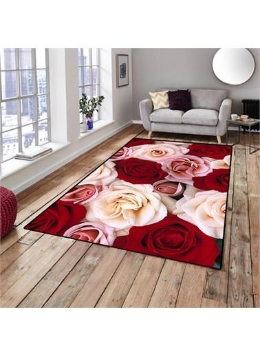 Halı Kırmızı Beyaz Güller Dekoratif 3D Salon Halıları 80X150Cm Renkli